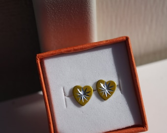 Starburst Heart Stud Earring Set in Silver and Gold Metal