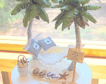 """Beach Wedding Cake Topper SALE! Fits 6"""" Honeymoon Hammock/Beach Sign Custom made To Order Your Wedding Colors.Rustic.Personalized!"""
