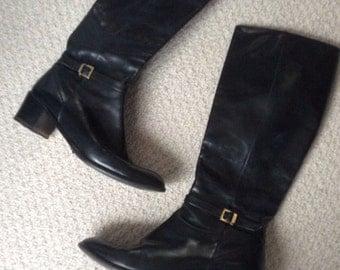 Salvatore Ferragamo knee high boots -black leather gold buckle