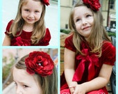 Red Flower Clip, Christmas Hair Bow,  Holiday Red Flower clip, Garnet Red Cabbage Rose Hair Flower for Girls and Women