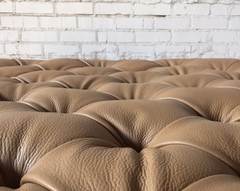Camel Leather Tufted Ottoman
