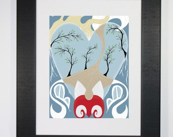 Fox in the Woods Art Print - Heart Trees Nature Sun Butterfly Contemporary Abstract Art Print