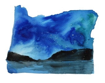Oregon, print from original watercolor illustration by Jessica Durrant from Painting the 50 States Project