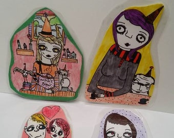 Bookmark bundle pack of 4, witches,coffee,weird,awesome,vampire,Halloween,fun,original,art