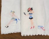 Dressing Table Scarves, Pair of Linen Appliqued, Embroidered Risque Ladies