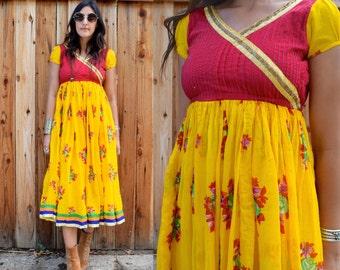 Vintage INDIAN BOLLYWOOD Style MIDI Dress Xs S