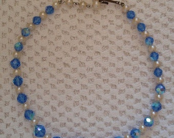 Vintage 1950's Choker Necklace Caribbean Blue Aurora Borealis Glass Crystal Beads Faux Pearls