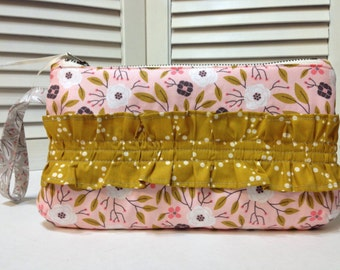 Soft peachy pink floral clutch with mustard ruffle