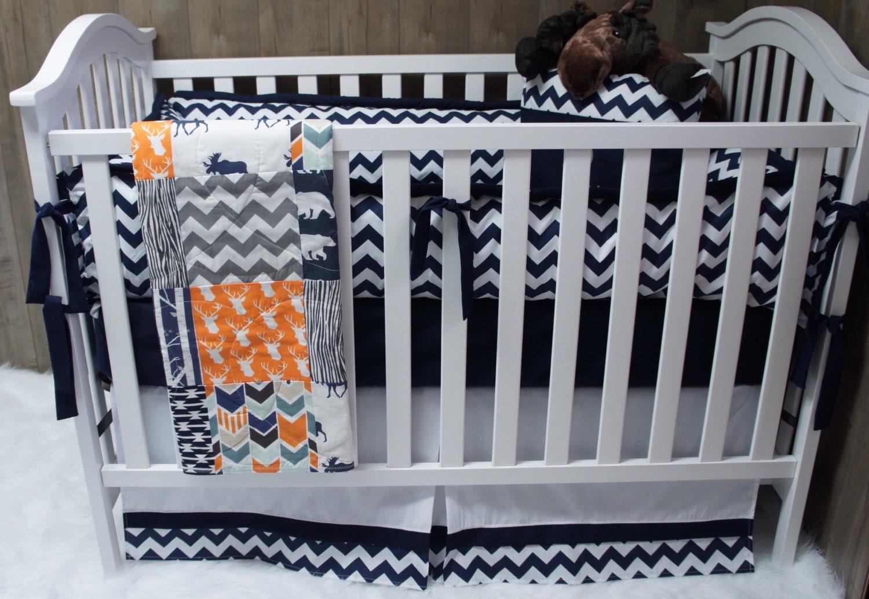 baby boy nursery bedding set baby woodland deer moose. Black Bedroom Furniture Sets. Home Design Ideas