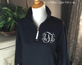 Monogram Sweatshirt   Quarter Zip Pullover   Monogrammed 1/4-zip sweatshirt   Preppy Sweatshirt   Initial Sweatshirt