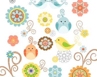 ON SALE Digital clip art, birds clip art, flowers clip art, birds n flowers 2, scrapbooking,Personal or Commercial Use
