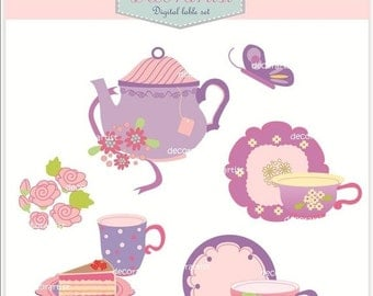 ON SALE clip art,Digital clip art, teapot, tea party, tea party 3,Tea cup clip art, Tea pot clip art, INSTANT Download