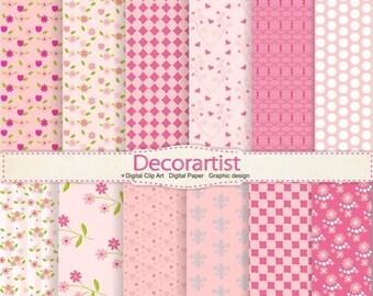 ON SALE Digital paper, paper clip art,pink flowers digital paper, set of pink, 12 digital sheets, instant download