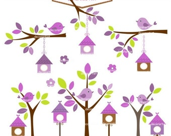 ON SALE clipart, bird clipart, bird house clipart ,Digital clipart birdcage ,Birdhouses ,Purple,invitations, card making  Instant downloa