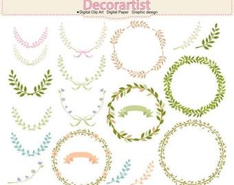 ON SALE Laurels ClipArt, floral wreath clip art,. silhouette Laurels Wreaths Clipart, wedding clipart, wreaths clipart, floral clipart,