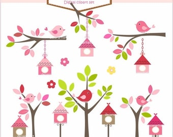ON SALE Digital clipart. birdcage pink , bird cliparts, Birdhouses Pink, invitations, card making, instant download
