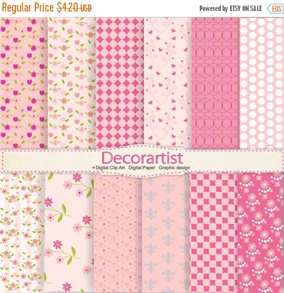 ON SALE Digital paper, paper clip art,pink flowers digital paper, set of pink, 12 digital sheets, instant download