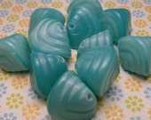 Abstract Light Blue Satin Glass Beads 12mm - 8pc