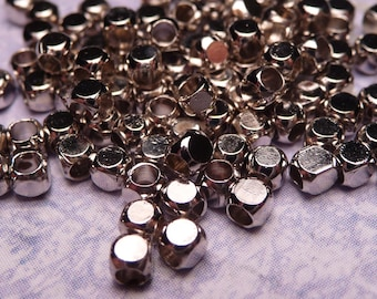 Small Silver Spacer Beads 2mm - 50pc
