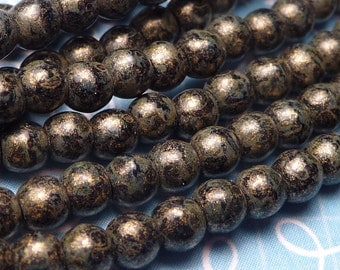 Metallic Picasso Glass Round Beads 3mm - 50pc