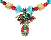 Bohemian Chic Necklace - Turquoise blue, red and gold
