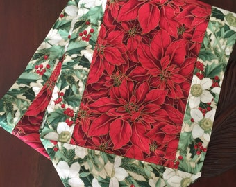 Table Runner, Piano Scarf, Dresser Scarf, Table  Scarf, Christmas Poinsettia, Holly, Red Green, Holiday Runner, Ready To Ship,Made in Hawaii