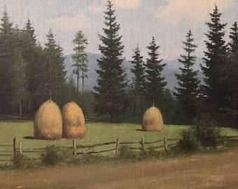 Vintage european landscape painting name on back