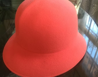 Vintage wool hat in tangerine union made!