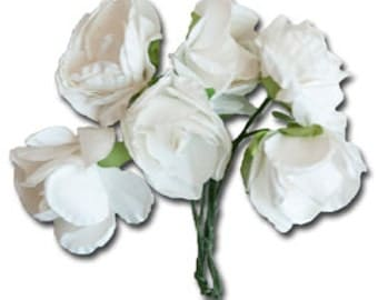 Medium Vintage Paper Flowers - White