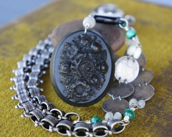 Antique Assemblage Necklace with Mourning Brooch, Silver Coins, Malachite and Book Chain