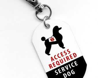 Service Dog Poodle ADA Access Required Alert 1 x 2 inch Aluminum Dog Tag