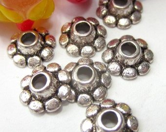 36 Antique silver bead caps bali style jewelry making  silver bead caps Ph900y