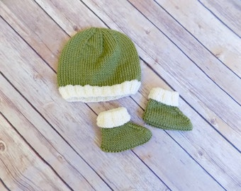 3-6 Month Baby Hat and Bootie Set, Olive Green Baby Hat, Baby Boy Hat, Baby Booties Knit