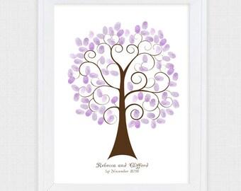wedding tree guest book thumbprint - printable - curly swirly custom fingerprint tree heart baby shower engagement anniversary birthday