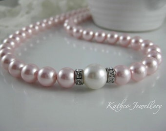 Kate- Bridal Soft Pink and White pearl Necklace .Swarovski Rosaline pearl Necklace .Bridesmaids Blush pearl Strand Bridal necklace.