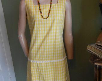 Yellow/White Checked Cotton Sleeveless Minidress w/Skorts - Size M