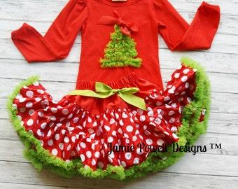 Christmas Deluxe Skirt and Shirt Set- Christmas Tree- -Baby's 1st Christmas- Petti Skirt- Toddler Christmas outfit- Girls Holiday Dress