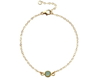 Delicate Aqua Chalcedony bracelet - gold filled - single gemstone - gold chain bracelet