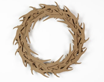 Cardboard Antler Wreath in Brown