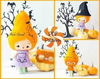 Halloween fairy witch with owl mask. PDF pattern. Felt doll.