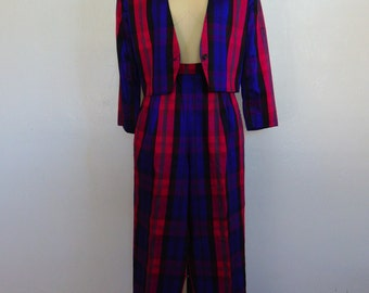 80s silk madras PLAID SUIT cropped high waisted size medium