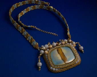 Sky Blue and Bronze Ceramic Cabochon with Micro-Macrame