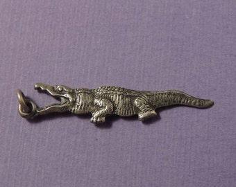 STERLING Alligator Charm / Sterling Crocodile Charm / Vintage Sterling Alligator Charm / Sterling Silver Alligator Charm / Crocodile Charm