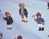 Ralph Lauren Bed Sheet - Teddy Bears on Blue Stripe - Twin Fitted