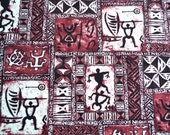 Hawaiian Fabric - Tapa Print Canvas - 46 x 37