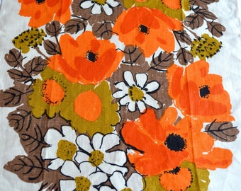 Vintage Vera Linen Kitchen Towel - Autumn Orange Poppies - NOS