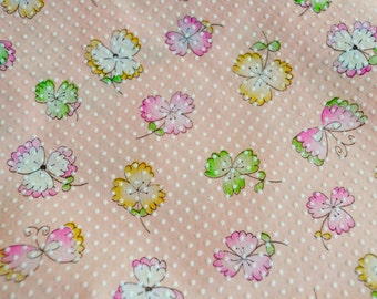Vintage Fabric - Pink Floral Swiss Dot - By the Yard