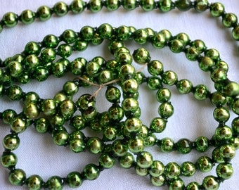 Vintage Mercury Glass Beads Garland - Lime Green - Over 7 Feet
