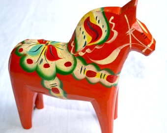 Vintage Red Dala Horse - 7 inch