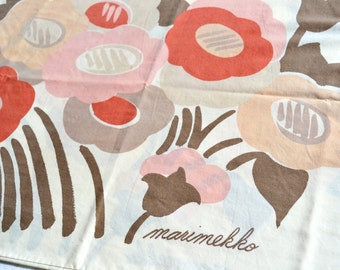 Vintage Pillowcases - Marimekko Earth Tone Floral - King Size Pair